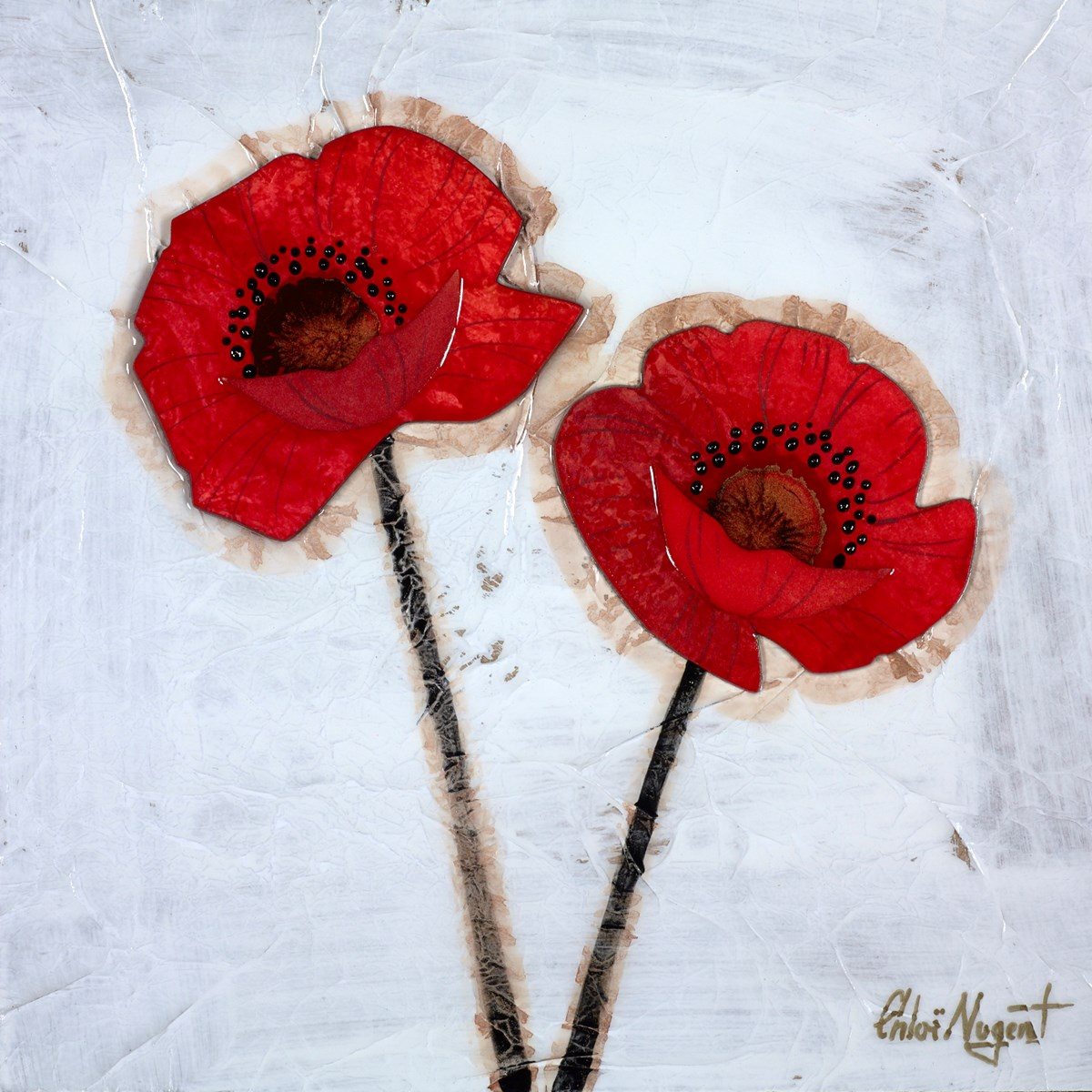 Scarlet Flowers IV by chloe nugent -  sized 10x10 inches. Available from Whitewall Galleries